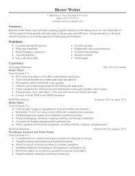 Resumes For Warehouse Jobs Sample Worker Resume General
