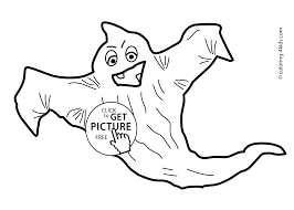 Halloween Ghost Coloring Pages For Kids Bat Printable Free