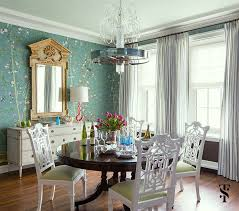 Summer Thornton Eclectic Dining Room Chinoiserie Wallpaper Chinese Chippendale Chairs