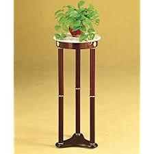 Amazon Lake Stevens Plant Stand in Cherry with White Round