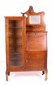 Antique Oak Secretary Bookcase Curio Cabinet