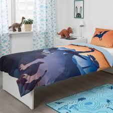 jättelik bettwäscheset 2 teilig dinosaurier im sonnenaufgang orange blau 150x200 50x60 cm