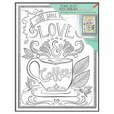 MCS Time Out Color In Framed Adult Coloring Page With Love Coffee