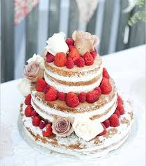 Naked Wedding Cake Adorned With Roses And Berriesweddingcakes Rusticwedding Rusticweddingcake