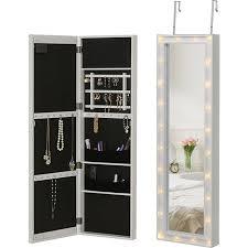homcom schmuckschrank zum aufhängen und mit led lichter weiß 36 6 x 8 x 120 cm bxtxh spiegelschrank schmuckregal schminkspiegel spiegel