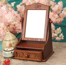 Very Small Portable Makeup Table With Drawer And Folding Mirror