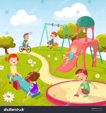Cute Children Playing With Toys In Playground Kids Stock Vector