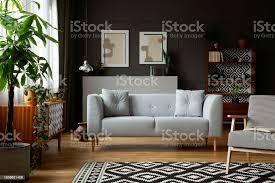echtes foto dunklen grau wohnzimmer interieur mit plakaten und formteil an wand gemusterten teppich frischpflanzen und helle stockfoto und