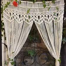 zq qy makramee wandbehang vorhang tür vorhang handgemachte vorhang panel wand kunst home wand dekor für türfenster 1 panel beige w95xh180cm