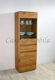 vitrine 62x191x42cm nyon rustikale asteiche natur geölt hochschrank gerundete form casade mobila