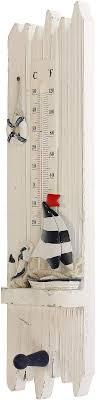 macosa bgt05262 thermometer maritim holz analog badezimmer deko temperaturmesser innenthermometer mit haken handtuchhaken temperaturanzeige innen