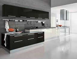 Fabulous Black White Kitchen Color With Modern Cabinets In Sleek Throughout Best 25