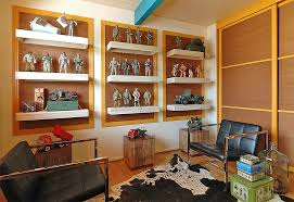 Wall Display Cabinet Design Family Room Modern With Brown Sliding Doors Floating Shelves Bright Blue Beam