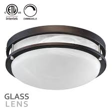 13 inch dimmable led flush mount ceiling light rubbed bronze