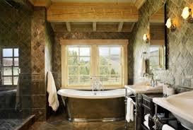 Elegant Tub With Stone Wall Decoration For Rustic Italian Interior Design Style