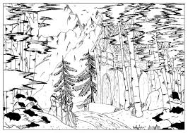 A Coloring Page With Viking House Hidden In The Forest