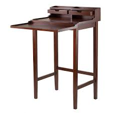 Wayfair Desks With Hutch by Amazon Com Winsome Brighton High Desk With 2 Drawer Brown