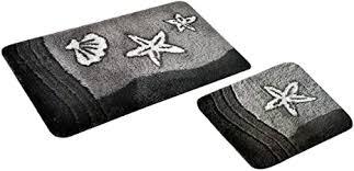 s s shop badematte set grau sealife 2 teilig rutschfest wc vorleger 50 x 45 cm badvorleger 50 x 90 cm badteppich teppich bad