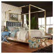 Manhattan Gold Canopy Bed Queen Black Inspire Q Tar