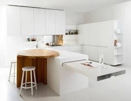 cuisine incorporé meuble de cuisine avec table integree salle manger blanche ilot l