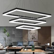 großhandel rechteckige moderne led pendelleuchte wohnzimmer schlafzimmer esszimmer schwarz weiß schwarz aluminium home deco acryl pendelleuchte