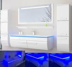 details zu 120 cm badmöbel set schwarz weiss hochglanz led badezimmermöbel komplett bad 120