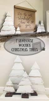 Beautiful Set Of 4 Farmhouse Style White Christmas Trees Wood Ad
