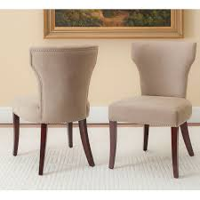 Upholstered Dining Chairs With Nailheads by Safavieh Logan Dark Wheat Upholstered Tan Nailhead Dining Side