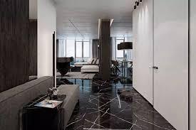 schwarzer marmor boden moderne wohnung weiss interiors