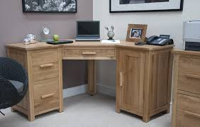 Furniture Unpolished Oak Wood Computer Desk Placed On Light Gray Pile Carpet Using Wooden Door Handle
