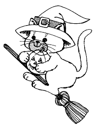 Black Cat Halloween Coloring Pages Of A