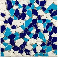 2018 mixed color deco glossy ceramic mosaic tiles blues irregular