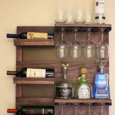 Rustic Dark Cherry Stained Wall Mounted Wine Rack With Shelves And Decorative Mesh Brown