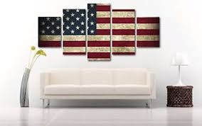 Image Is Loading Rustic American Flag Split Canvas Wall Art Up