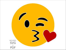 Kiss Emoji SVG Wink Face Clipart Kissing Smiley