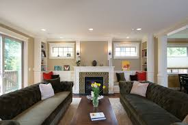 fireplace windows and window seat craftsman living room