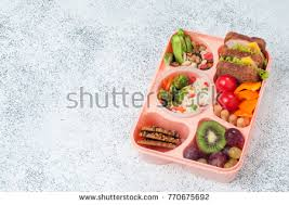 Healthy Food Concept Open Lunch Box With Sandwiches Vegetable Salad Fresh Grape And