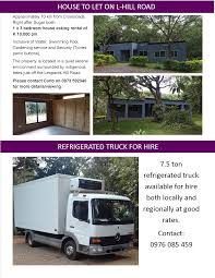 100 Truck For Hire 26012018 HOUSE TO LET ON LHILL ROAD REFRIGERATED TRUCK FOR
