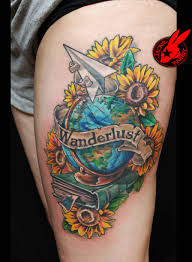 Globe Book Flower Tattoo Not This One But A Mix Of My Own