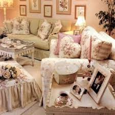 Country Shabby Chic Style Living Room With Wall Art And Pillows Recliner Sofa Vintage