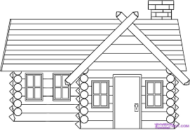How To Draw A Log Cabin House