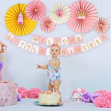 Unomor Baby Shower Decorations Girls WELCOME LITTLE PRINCESS Banner With 6 Paper Fans For Baby Girl Shower Party Decoration Pink