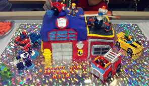 Homemade Rescue Bots Prime Fire Station Cake!! A Little Messy But ...