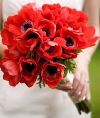 Red Winter Bridal Bouquet Of Anemones