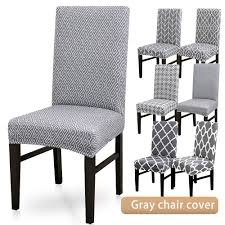 1Pcs Gray Printing Pattern Dining Room Chair Cover Removable Washable  Stretch Seat Cover Summerhill Collection Velvet Plush Ding Chair Covers 3d Pattern Spandex Stretch Short Seat Slipcovers Pique Slipcover Trendy Slipcover Removable Cover Yisun Tile Good Looking Black Cushions For Room Chairs Chair Banquet Ding Covers Table Home Design Ideas How To Make Out Of Pillowcases Simplicity Interesting Leather Details About 2pcs Onepiece Pu Lace Waterproof E7t6