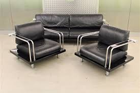 Art Deco Bauhaus Streamline Style Sofa & Chairs Suite Black Leather ...