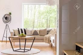 gemusterte kissen auf beige sofa und entworfene tabelle mit äpfeln auf platte im modernen wohnzimmer