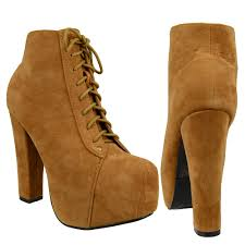 ankle boots suede chunky high heel platform lace up casual shoes tan