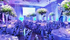 Wedding Decoration Ideas Blue Decorations Ceremony With Floral Covered Chairs And Large Round Tables