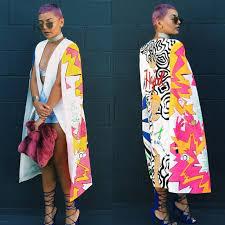 2017 New Fashion Trendy Womens Long Scarf Blazer Scrawl Printing Sleeve Street Punk Style